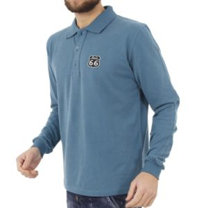 Μακρυμάνικη Μπλούζα με Γιακά POLO START CARAG 66-566-17N Γαλάζιο