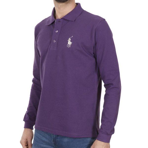 Μακρυμάνικη Μπλούζα με Γιακά POLO START CARAG 66-550-18N Μωβ