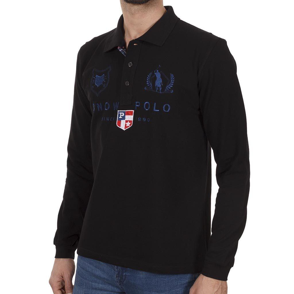Μακρυμάνικη Μπλούζα με Γιακά POLO START CARAG 66-599-18N Μαύρο