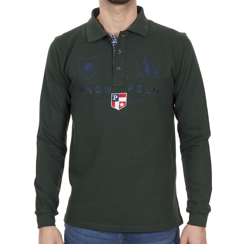 Μακρυμάνικη Μπλούζα με Γιακά POLO START CARAG 66-599-18N Πράσινο