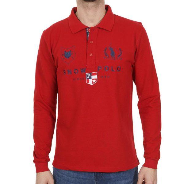 Μακρυμάνικη Μπλούζα με Γιακά POLO START CARAG 66-599-18N Κόκκινο