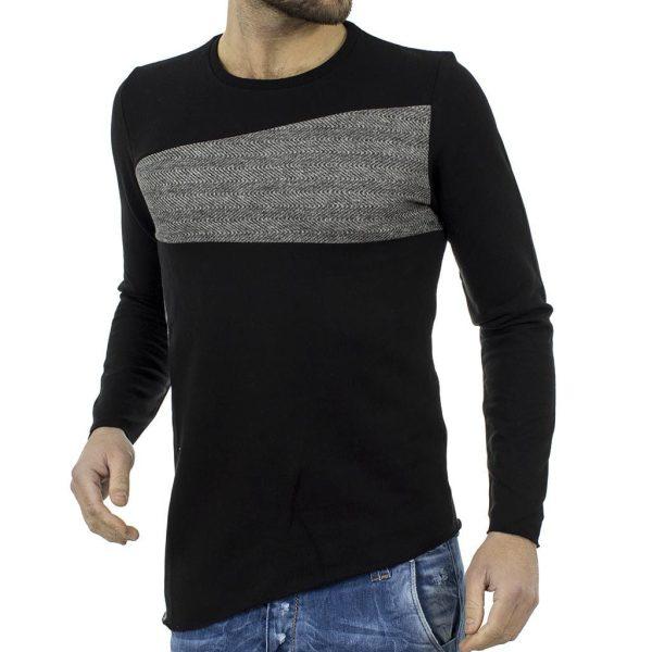 Μακρυμάνικη Μπλούζα #hashtag BLAD W17064 Μαύρο