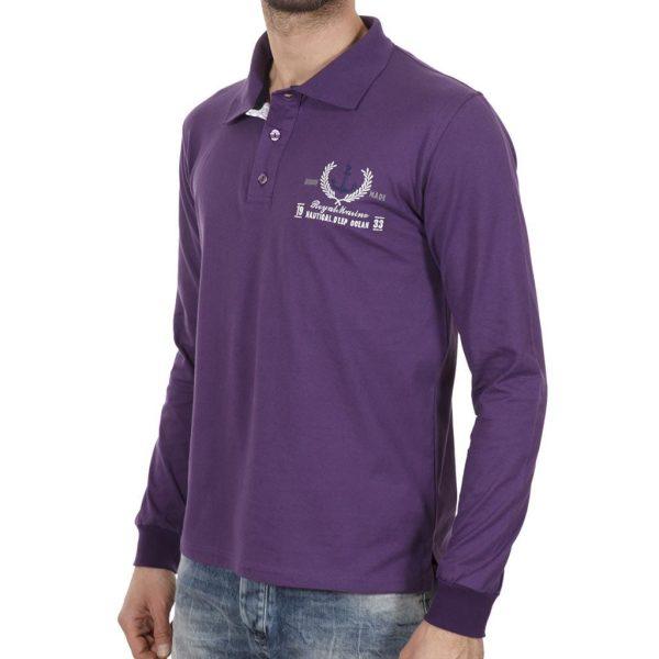 Μακρυμάνικη Μπλούζα με Γιακά POLO START CARAG 66-533-18N Μωβ