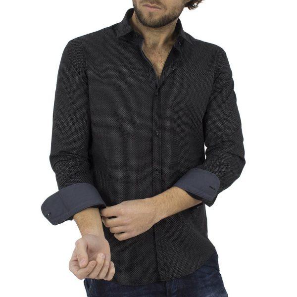Μακρυμάνικο Πουκάμισο Slim Fit MASTER TAILOR 801SH611-2853-11 Μαύρο