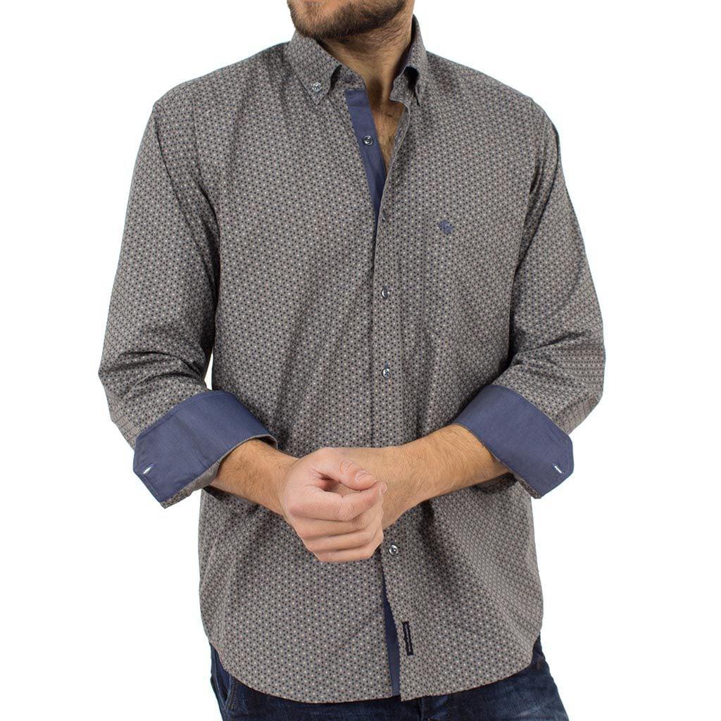 48689e90e8f4 Μακρυμάνικο Πουκάμισο Regular Fit Canadian Shirts 2300-5 Γκρι ...