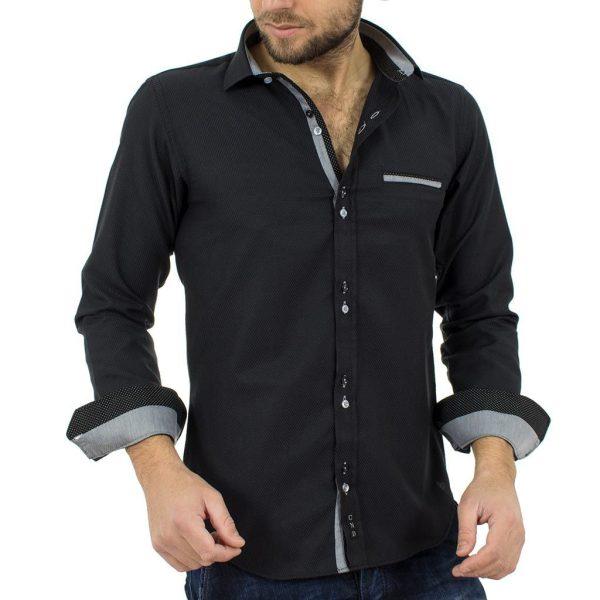 Μακρυμάνικο Πουκάμισο Slim Fit CND Shirts 1600-8 Μαύρο