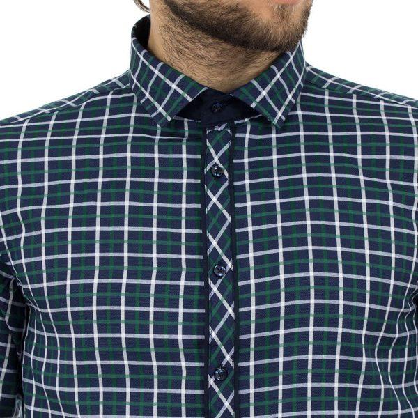 Καρό Μακρυμάνικο Πουκάμισο Slim Fit CND Shirts 1800-3 σκούρο Μπλε