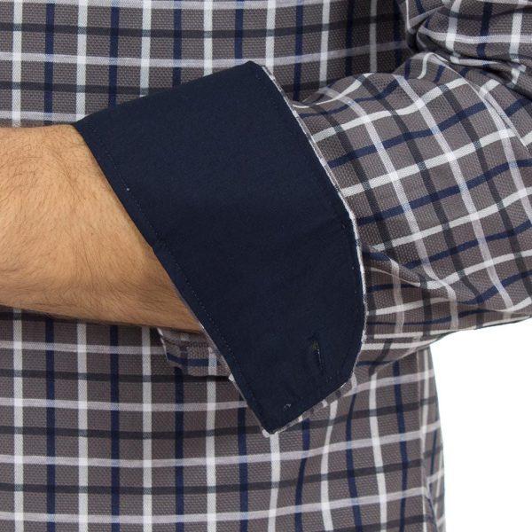 Καρό Μακρυμάνικο Πουκάμισο Slim Fit CND Shirts 1800-4 Γκρι