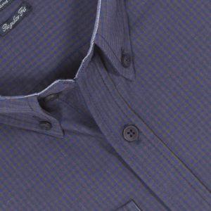Πουκάμισο regular fit μακρυμάνικο DOUBLE GS-453 Μπλε Καρό