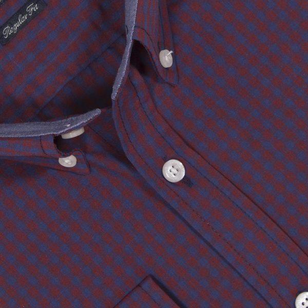 Πουκάμισο regular fit μακρυμάνικο DOUBLE GS-453 Μπορντό Καρό