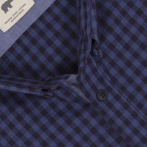 Πουκάμισο regular fit μακρυμάνικο DOUBLE GS-456 Μπλε Καρό