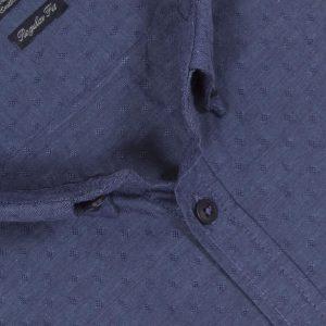 Πουκάμισο regular fit μακρυμάνικο DOUBLE GS-458 Μπλε Πουά