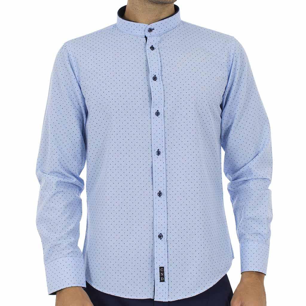 de5f9274b8f9 Μακρυμάνικο Πουκάμισο με Γιακά Μάο CND Shirts AN-006 Sky Blue ...