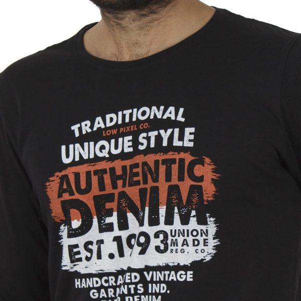 Μακρυμάνικη Μπλούζα Tee BLEND 20706186 Μαύρο