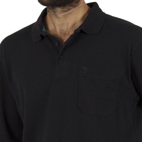 Μακρυμάνικη Πικέ Μπλούζα με Γιακά DOUBLE Polo GS-31 Μαύρο