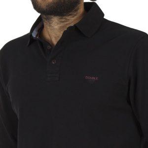 Μακρυμάνικη Πικέ Μπλούζα με Γιακά DOUBLE Polo GS-36 Μαύρο
