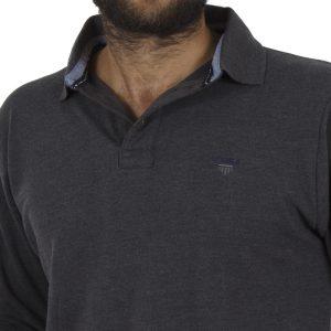 Μακρυμάνικη Πικέ Μπλούζα με Γιακά DOUBLE Polo GS-36 σκούρο Γκρι