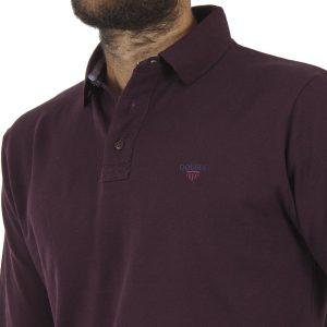 Μακρυμάνικη Πικέ Μπλούζα με Γιακά DOUBLE Polo GS-36 Wine Red