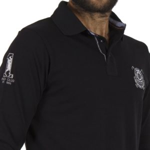 Μακρυμάνικη Μπλούζα με Γιακά DOUBLE Jersey Polo PS-218 Μαύρο