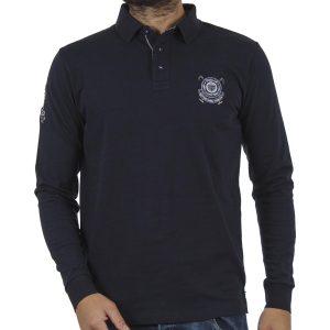 Μακρυμάνικη Μπλούζα με Γιακά DOUBLE Jersey Polo PS-218 Μπλε