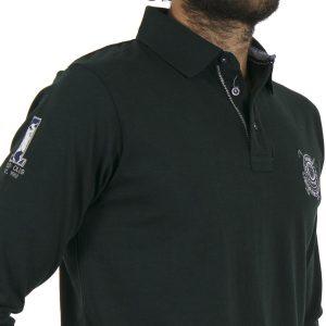Μακρυμάνικη Μπλούζα με Γιακά DOUBLE Jersey Polo PS-218 σκούρο Πράσινο
