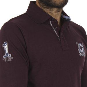 Μακρυμάνικη Μπλούζα με Γιακά DOUBLE Jersey Polo PS-218 Wine Red