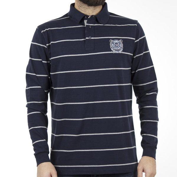 Ριγέ Μακρυμάνικη Μπλούζα με Γιακά DOUBLE Jersey Polo PS-217 Navy
