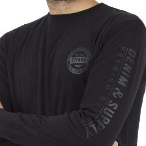 Μακρυμάνικη Μπλούζα DOUBLE TS-73 Μαύρο