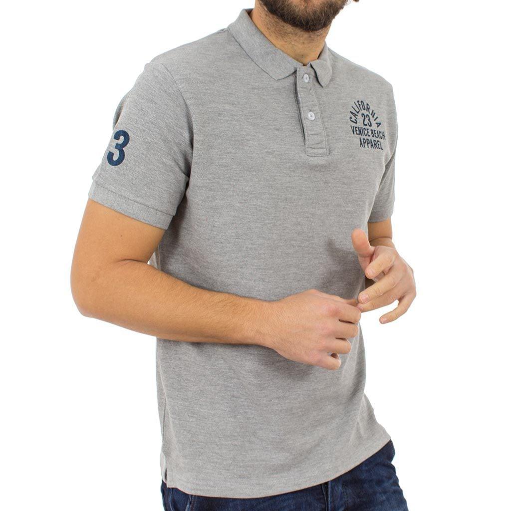 Κοντομάνικο Μπλούζακι με Γιακά Polo DOUBLE Polo Piqu PS-207S Γκρι