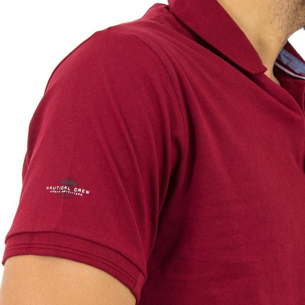 Κοντομάνικο Μπλούζακι με Γιακά Polo Jersey DOUBLE PS-209S Μπορντό