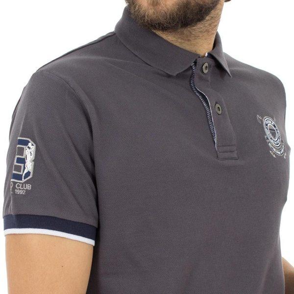 Κοντομάνικο Μπλούζακι με Γιακά Polo DOUBLE Polo Piqu PS-210S Ανθρακί