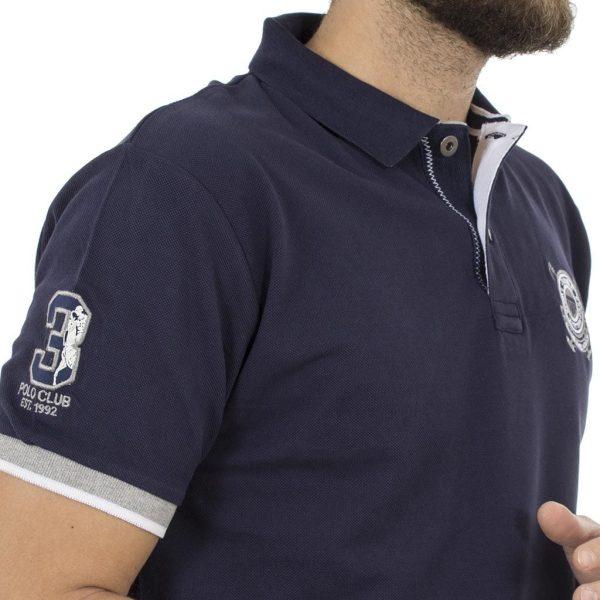 Κοντομάνικο Μπλούζακι με Γιακά Polo DOUBLE Polo Piqu PS-210S Μπλε