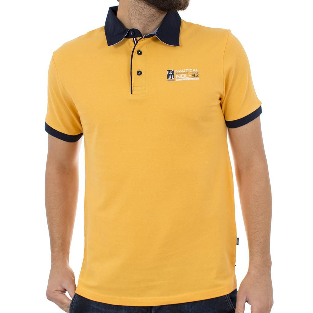 Κοντομάνικο Μπλούζακι με Γιακά Polo DOUBLE Polo Piqu PS-211S Κίτρινο