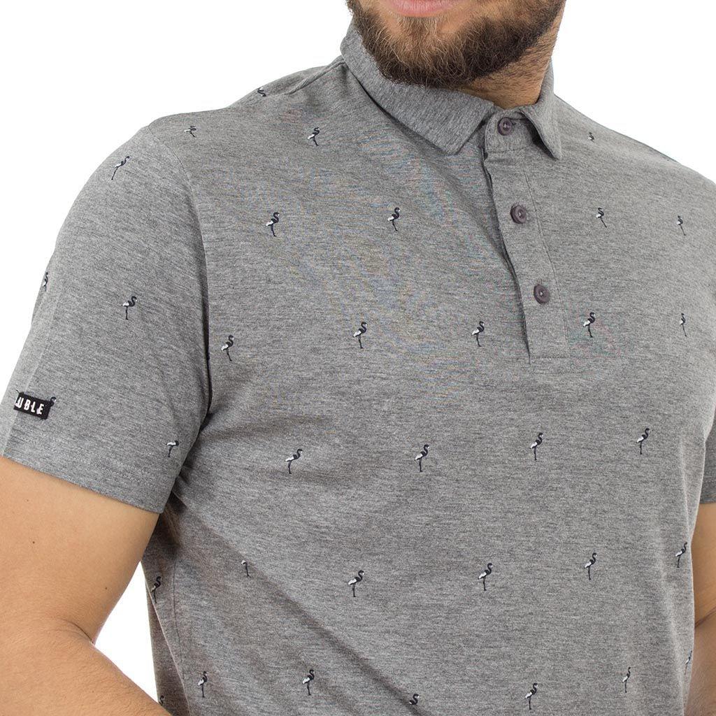 Κοντομάνικο Μπλούζακι με Γιακά Polo DOUBLE Polo Jersey PS-213S Γκρι