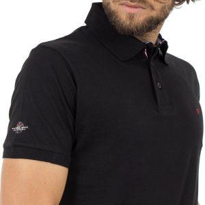 Κοντομάνικο Μπλούζακι με Γιακά Polo DOUBLE Polo Jersey PS-216S Μαύρο