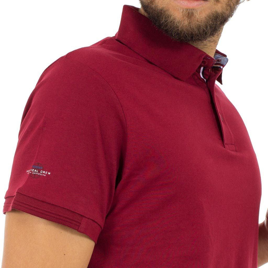 Κοντομάνικο Μπλούζακι με Γιακά Polo DOUBLE Polo Jersey PS-216S Μπορντό