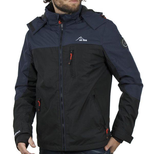Μπουφάν Jacket με Κουκούλα ICE TECH G611 Μαύρο-Navy