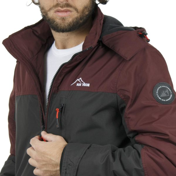 Μπουφάν Jacket με Κουκούλα ICE TECH G611 Γκρι-Cherry