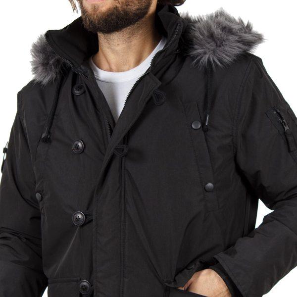 Μπουφάν Jacket με Κουκούλα DOUBLE MJK-121 Ανθρακί