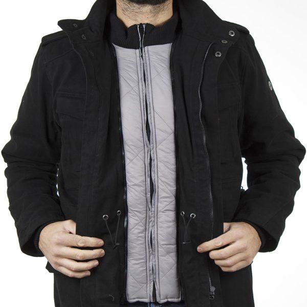 Μακρύ Μπουφάν Parka Jacket DOUBLE MJK-119 Μαύρο