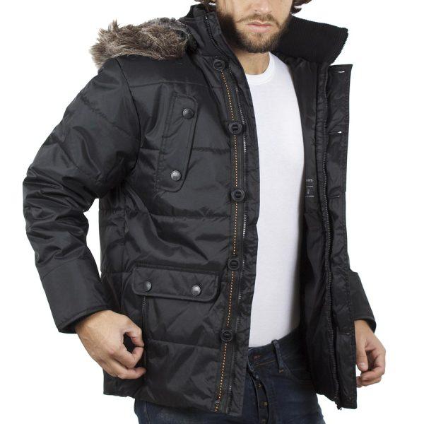 Φουσκωτό Μπουφάν Puffer Jacket με Κουκούλα DOUBLE MJK-117 Μαύρο