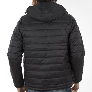 Φουσκωτό Μπουφάν Puffer Jacket με Κουκούλα DOUBLE MJK-124 Μαύρο