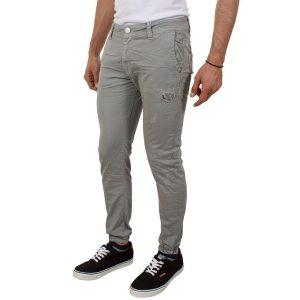 Παντελόνι γκρι με λάστιχο Damaged jeans D32