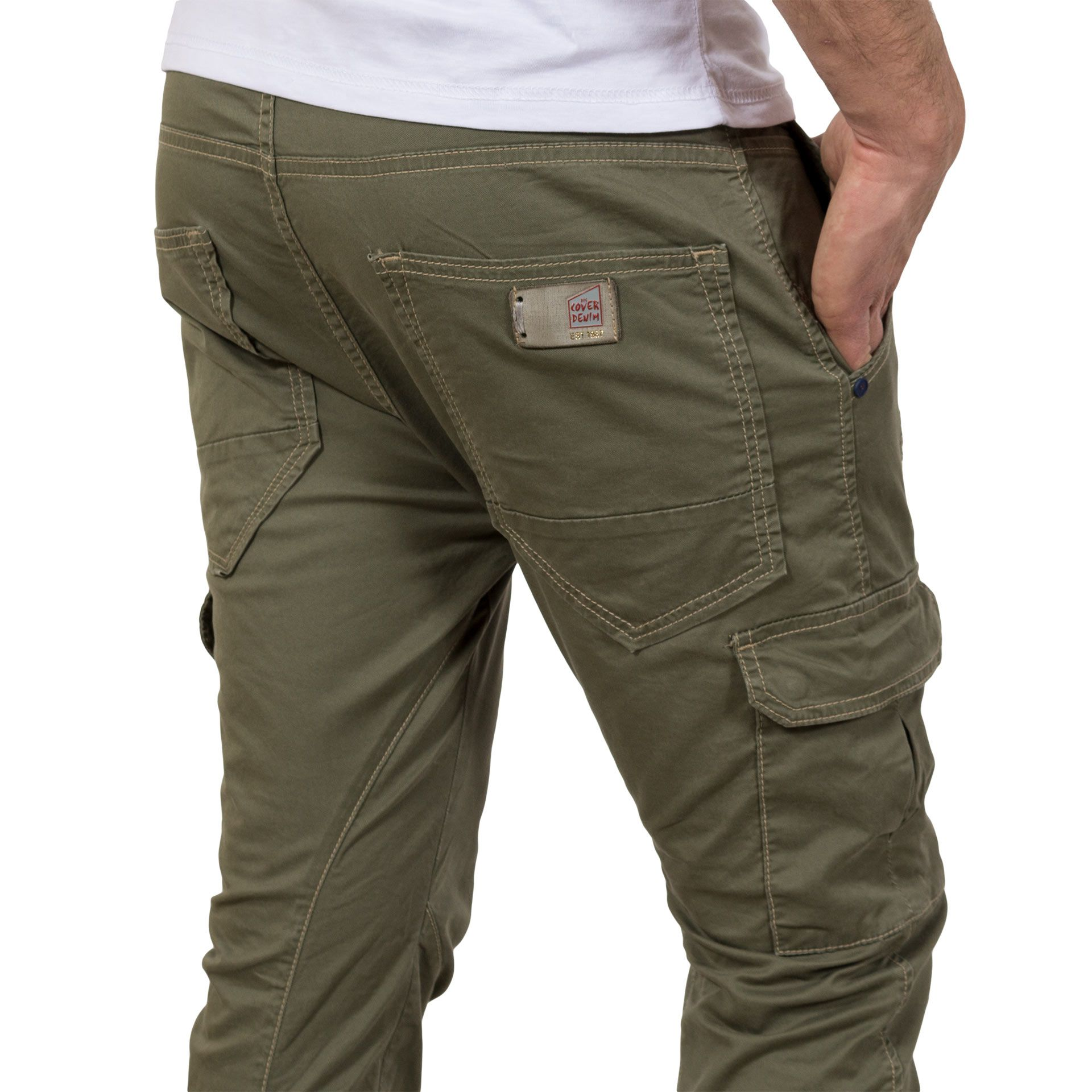 Cargo Παντελόνι Chinos με λάστιχα COVER Jeans Loft 7482 Χακί ... 0c48dfa51e1