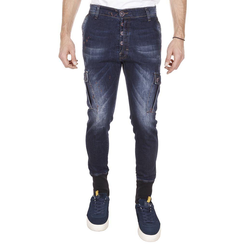 Τζιν Παντελόνι με Λάστιχο Damaged Jeans T44 Army Blue