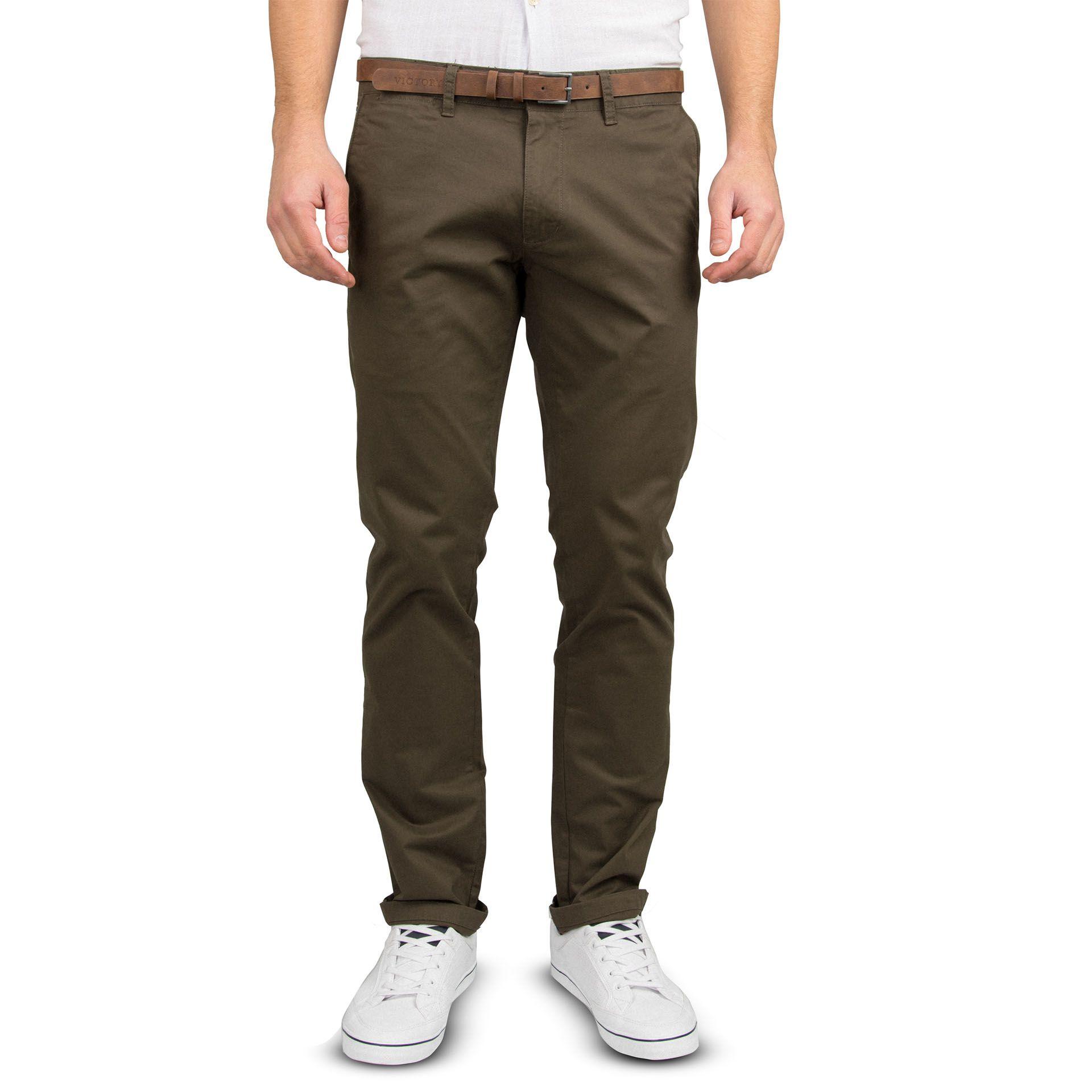 Ανδρικό παντελόνι Slim fit VICTORY MISHA χρώμα BROWN.