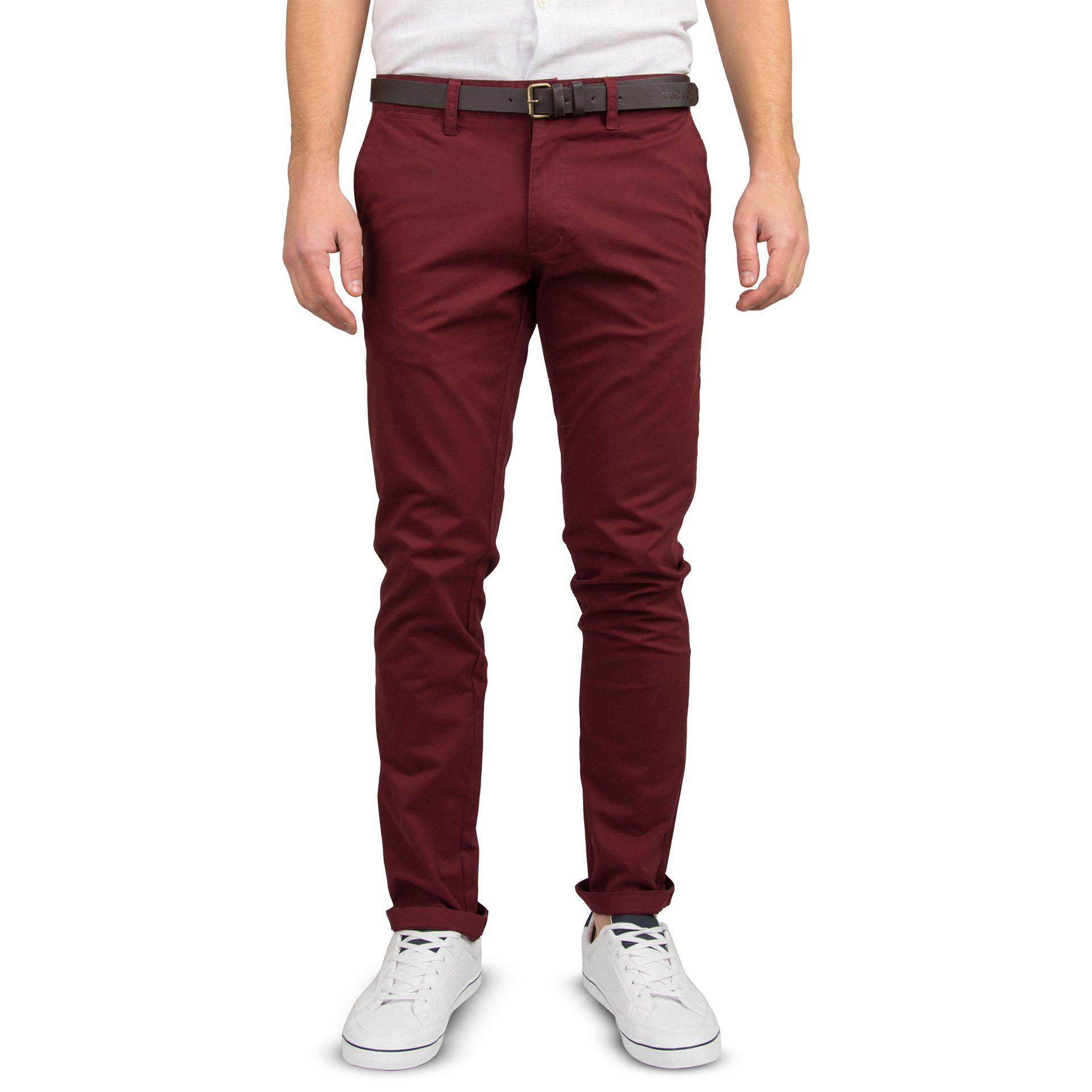 Ανδρικό παντελόνι Slim fit VICTORY MISHA χρώμα CHERRY.