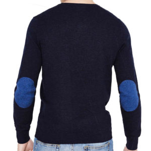 Πλεκτή Μπλούζα με V Λαιμόκοψη CELIO Pull col v coudières contrastées Navy