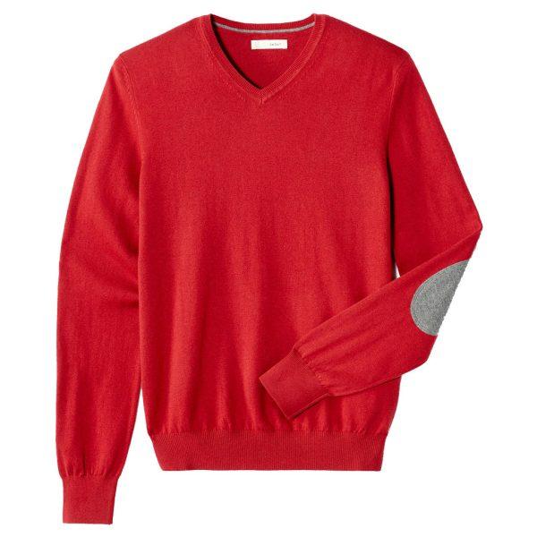 Πλεκτή Μπλούζα με V Λαιμόκοψη CELIO Pull col v coudières contrastées Κόκκινο