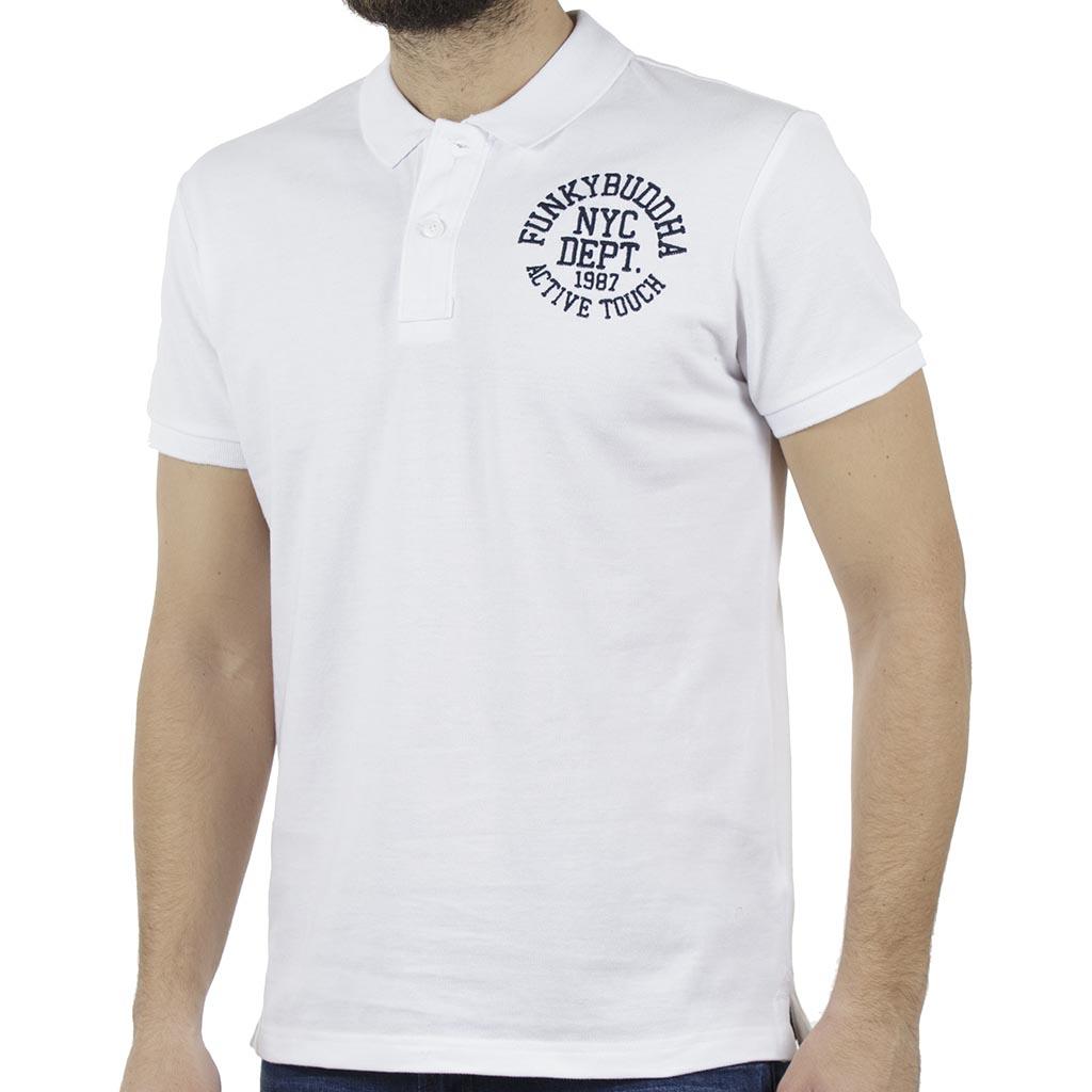 62df2f4c31bd Κοντομάνικη Μπλούζα Polo FUNKY BUDDHA FBM017-11119 Λευκό